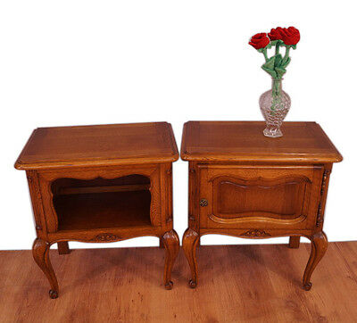 Pair of French oak bedside cabinets in Louis XVI style