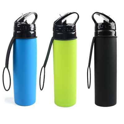 1X Silicone Collapsible Drink Kettle Silicone Sports Foldable Water Bottle 600ml