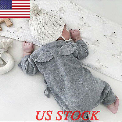 Cotton Newborn Baby Angel Wings Clothes Girl Boy Romper Jumpers Outwear Outfits