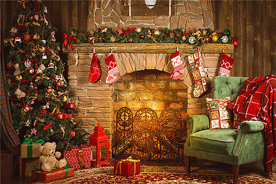 Christmas Tree Vinyl Photo Backdrops Fireplace Photography Baby Background 7x5FT