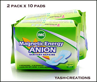 2 Pack-Magnetic Energy IMC Anion Sanitary Napkins - 290 mm Long 10 Pads Per Pack