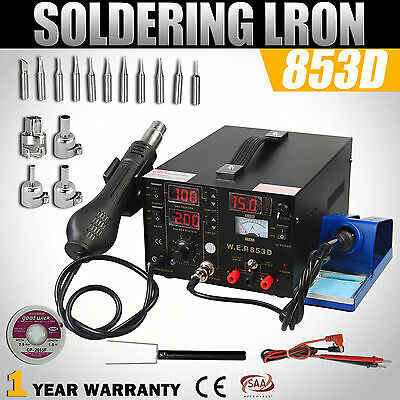 853D 3 IN 1 Soldering Station Rework Solder Iron Hot Air Gun DC Power Suppy SMD