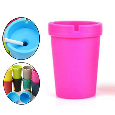Auto Cigarette Ashtray Double Layer Candy Color ABS Ash Cylinder Cup Holder 11cm