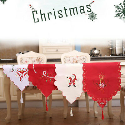 BU_ 40 x170cm Santa Claus Bell Candle Christmas Tassel Table Runner Party Decor