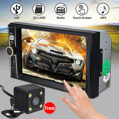 2 DIN 6.6'' HD Bluetooth Coche DVD Reproductor Estéreo Radio FM/MP5/MP3/USB/AUX