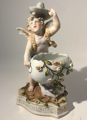 Antique German Sitzendorf Late 19th Century Porcelain Figure Of Boy / Cherub
