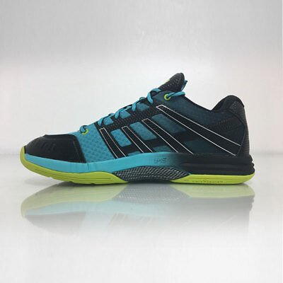 Salming Race X Men's Indoor Court Squash Shoes - Cyan/Yellow/Black