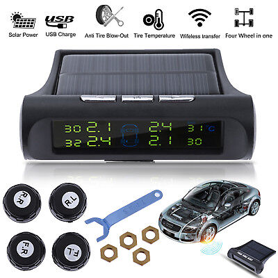 Wireless LCD Car Auto TPMS Tire Pressure Intelligent Monitor System + 4 Sensors