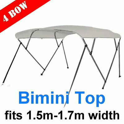 4 Bow 1.5m-1.7m Boat Bimini Top Canopy Cover + Rear Poles & Sock Grey
