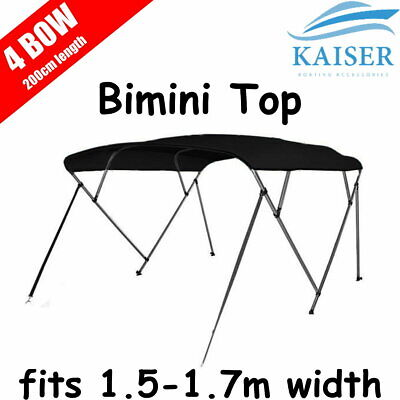 4 Bow 1.5m-1.7m Boat Bimini Top Canopy Cover + Rear Poles & Sock Black