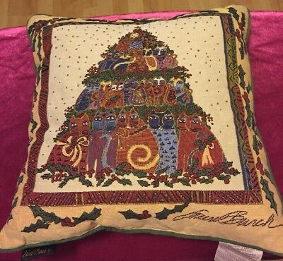 "Laurel Burch Pillow Christmas Holly Cat Tapestry Large 16"" x 16"" 2006 Macy's"