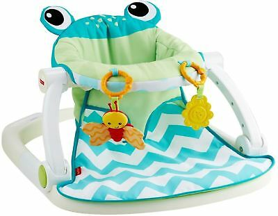 Fisher-Price Sit-Me-Up Floor Seat-Citrus Frog Soft, Supportive Seat Pad BrandNew