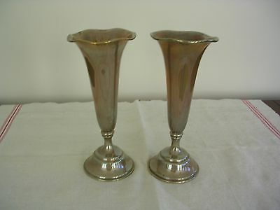 "Black Starr & Frost 8"" Fluted Sterling Vases - Pair - Weighted Bottoms."