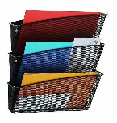 Alba MESHFILE N Mesh Pocket Wall File, Set of 3 (Black) Ideal for Organizing New