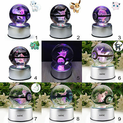 Pokemon Go Elf Pokeball 3D Crystal Ball LED Night Light Table Desk Lamp Gift 8cm