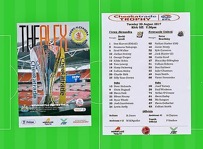 Crewe V Newcastle United. Checkatrade Trophy. 17/18 Programme And Team Sheet.