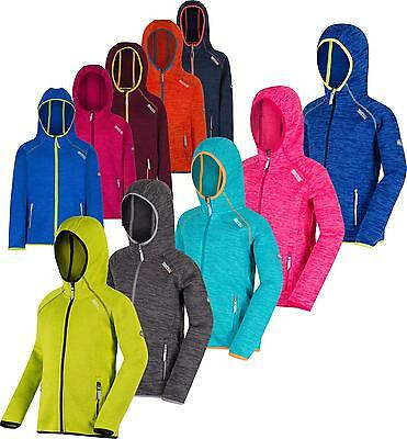 Regatta Dissolver Kids Fleece Hooded Full Zip Fleece Jacket Girls Boys Hoodie