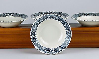 RARE! 4 Cereal Bowls, NEAR MINT! Pilgrim, Blue Gray, Royal China, Frontier