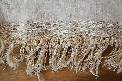 Antique Rustic C. 1880 French Hemp Roll Homespun Organic Pure Hemp Fringe