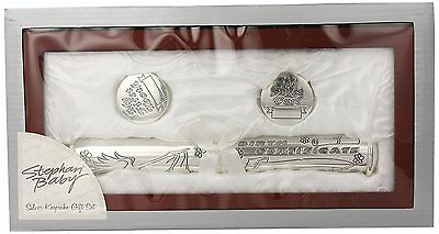Stephan Baby Satin-Lined Rosewood Keepsake Box with Silver Plated Birth Holder,