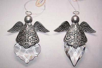 """2 pc. Acrylic Crystal Winged Angel Christmas Ornament NEW 8"""" Large Shipped FREE"""