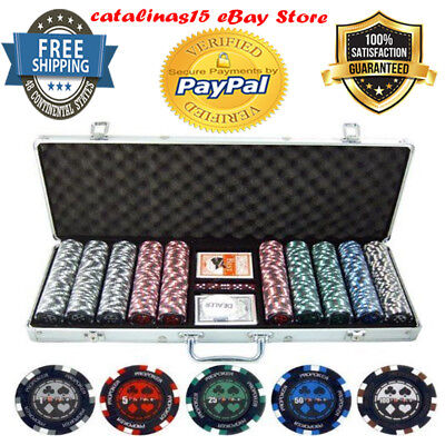 500 Piece Pro Poker Clay Poker Set 13.5 Gram Clay Composite Poker Chips 5 Dice