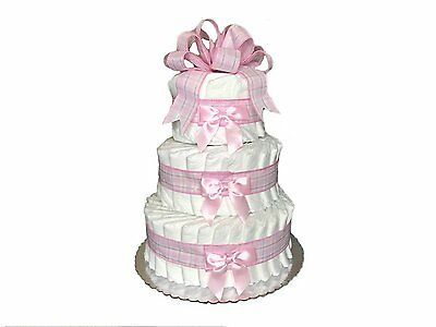 Classic Pastel Baby Shower Diaper Cake 3 Tier, Pink