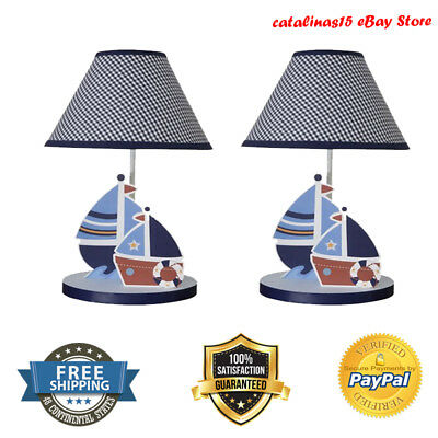 Lamp with Shade and Bulb Sail Boat Kids Nursery Room Decoration Lighting Fixture