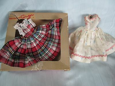 Vintage Tagged Cosmopolitan Fashions tor Ginger Doll Dress Red Plaid &Pink Lot
