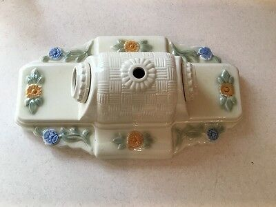 Vintage Porcelain Bathroom Bedroom Floral 2 Bulb Light Fixture Wall Sconce