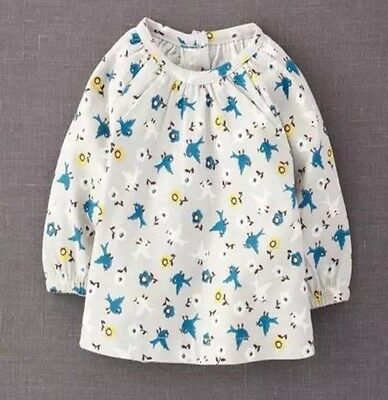 BRAND NEW STOCK JUST IN- Mini Baby Boden Grey Birds Long Sleeve Smock Top 0-4Yrs