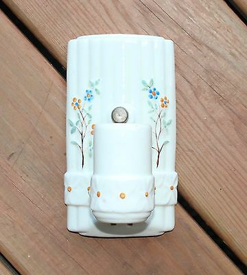 Vintage Art Deco Porcelain Wall Light Fixture Sconce Ivory Peach Blue Floral