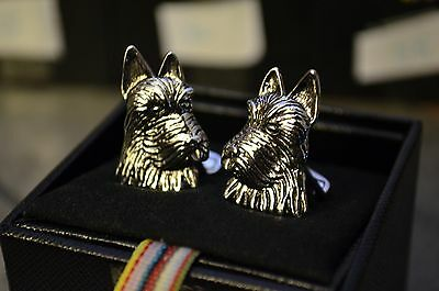 Authentic Paul Smith Cufflinks Silver Scottie Terrier Brand New in Box Dogs