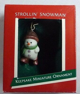 "Hallmark ""Strollin' Snowman"" 1989 RARE BRONZE Color VARIATION Keepsake Ornament"