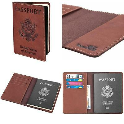 Passport Leather Credit Card Holder Case Anti RFID Block Travel Wallet Organizer