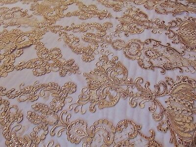 Gold French Garden Sequin Mesh Big Pattern Floral Wedding romantic lace fabric