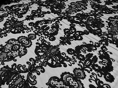 Black French Garden Sequin Mesh Big Pattern Floral Wedding romantic lace fabric