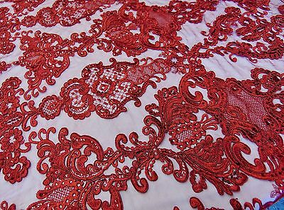 Red French Garden Sequin Mesh Big Pattern Floral Wedding romantic lace fabric