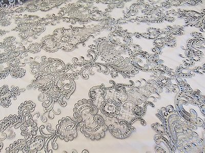 Silver French Garden Sequin Mesh Big Pattern Floral Wedding romantic lace fabric