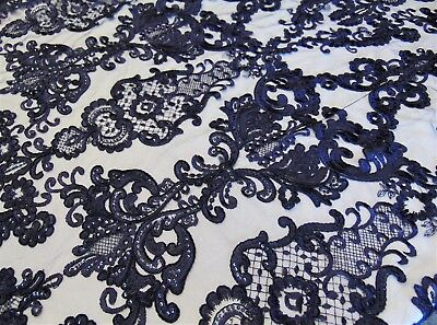 Navy French Garden Sequin Mesh Big Pattern Floral Wedding romantic lace fabric