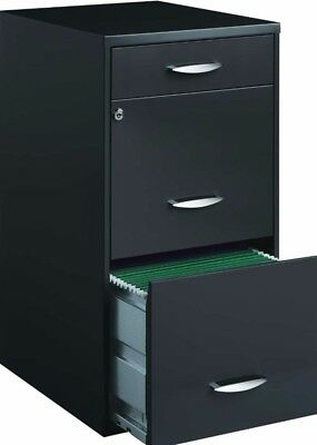 3-Drawer Modern Charcoal File Pedestal Cabinet Storage Home Office Furniture