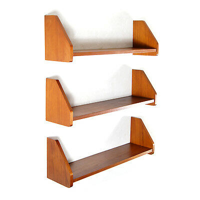 3 Retro Vintage Danish Teak Wall Shelving System Book Shelves Bookcase 60s 70s