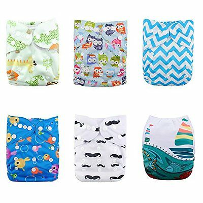 ALVABABY 6pcs Pack Pocket Adjustable Reusable Cloth Diaper with 2 Inserts Each