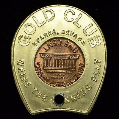 1970-D Lincoln Cent Good Luck Keep Me Never Go Broke, Gold Club Nevada bb1438