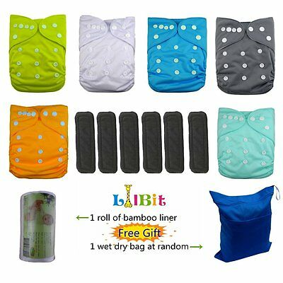 LilBit Baby Reusable Pocket Cloth Diapers, 6 pcs + 6 pcs Bamboo Charcoal Inserts