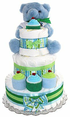 3 Tier Diaper Cake - Blue Teddy Bear Diaper Cake For Boy - Baby Gift For Baby -