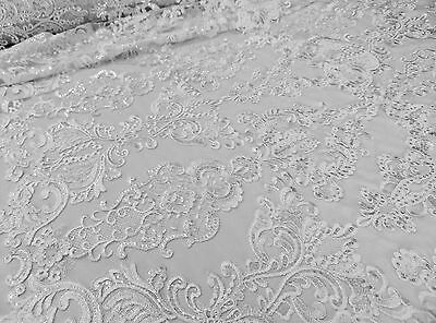 White French Garden Sequin Mesh Big Pattern Floral Wedding romantic lace fabric