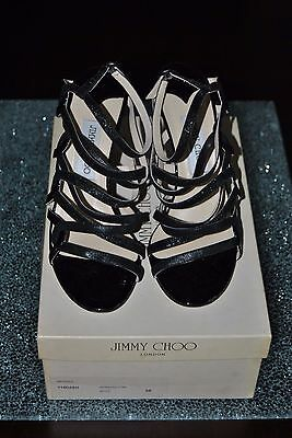 Jimmy Choo Black Patenet Leather Glitter High Heel Strappy Shoes,with Box, 39