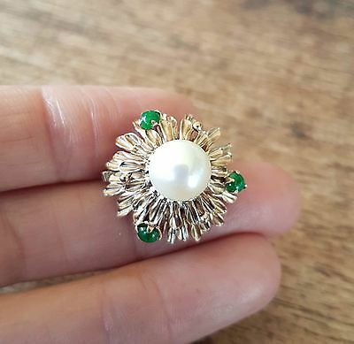 Vintage / Antique 9k Yellow Gold Emerald and Pearl brooch