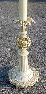 Vtg TOLE Metal Floor Lamp Chunky Hollywood Regency Glam Louis XVi French Chic